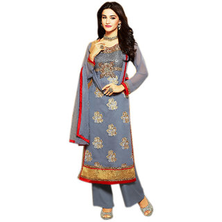 Naksh Creation Womens Grey Embroidered Faux Georgette Unstitched Dres Material