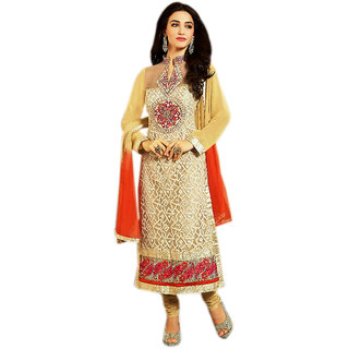 Naksh Creation Womens Cream Embroidered Faux Georgette Unstitched Dress Materia