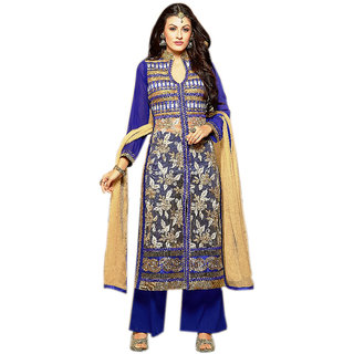 Naksh Creation Womens Blue Embroidered Faux Georgette and Net Unstitched Dress