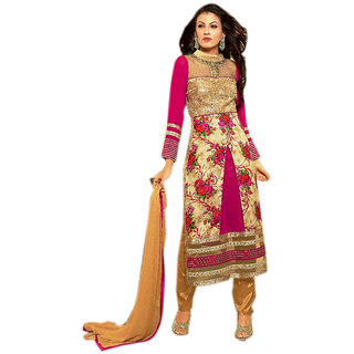 Naksh Creation Womens Cream Embroidered Faux Georgette And Bhagalpuri Print Uns