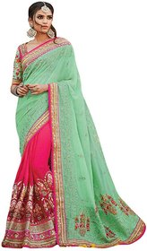 Naksh Creation Green & Peach Georgette Embroidered Saree With Blouse