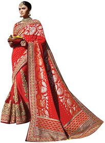 Naksh Creation Red Georgette Embroidered Saree With Blouse