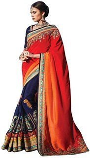 Naksh Creation Blue & Orange Silk Embroidered Saree With Blouse