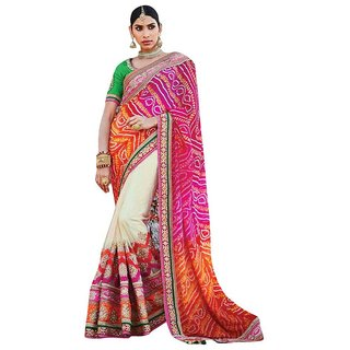 Naksh Creation Multicolor Chiffon Embroidered Saree With Blouse