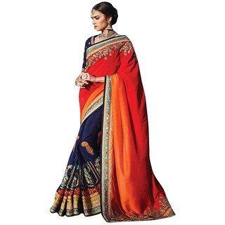 Naksh Creation Blue & Orange Silk Embroidered Saree With Blouse