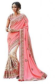 Naksh Creation Pink & Cream Silk Embroidered Saree With Blouse