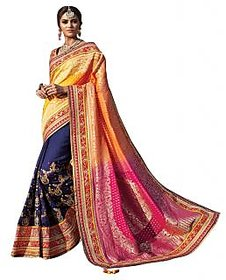 Naksh Creation Multicolor Georgette Embroidered Saree With Blouse