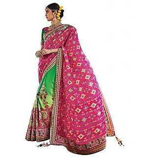 Naksh Creation Green & Pink Silk Embroidered Saree With Blouse