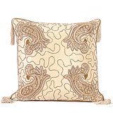 AMBI - Off-white Silk Cushion Cover With Paisley Embroidery - Set Of 2