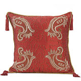 AMBI - Tomato Red Silk Cushion Cover With Paisley Embroidery - Set Of 2