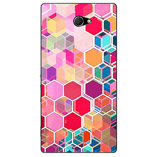 EYP Red Blue Hexagons Pattern Back Cover Case For Sony Xperia M2 Dual 320274