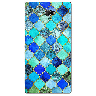 EYP Dark Blue Moroccan Tiles Pattern Back Cover Case For Sony Xperia M2 Dual 320290