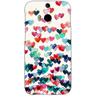 EYP Hearts in the Air Pattern Back Cover Case For HTC One M8 Eye 330234
