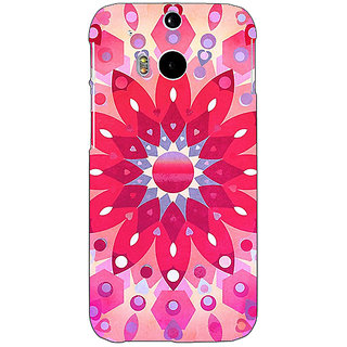 EYP Red Flower Pattern Back Cover Case For HTC One M8 Eye 330256