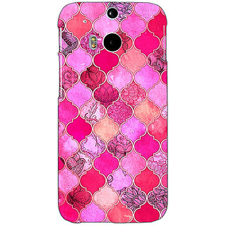 EYP Pink Moroccan Tiles Pattern Back Cover Case For HTC One M8 Eye 330288