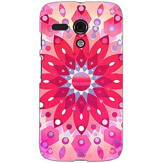 EYP Red Flower Pattern Back Cover Case For Moto G (1st Gen) 130256
