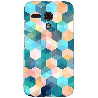 EYP Blue Hexagon Pattern Back Cover Case For Moto G (1st Gen) 130277