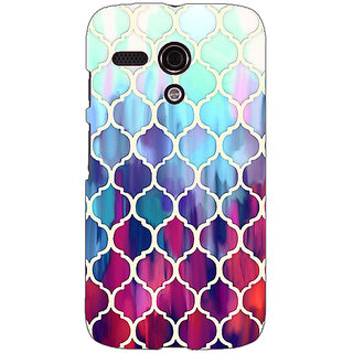 EYP White Red Blue Moroccan Tiles Pattern Back Cover Case For Moto G (1st Gen) 130300