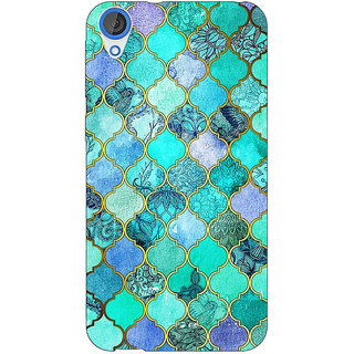 EYP Sky Blue Morocan Tiles Pattern Back Cover Case For HTC Desire 820Q 290292