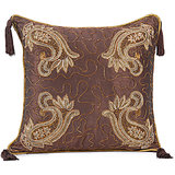 AMBI - Wine Coloured Silk Cushion Cover With Paisley Embroidery - Set Of 2