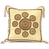 CHAKRI - Silk Off-white Cushion Cover With Circular Embroidery - Set Of 2