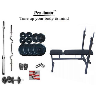 PROTONER WEIGHT LIFTING PACKAGE 60 KGS + I/D/F BENCH + H.GRIP + GLOVES+ROPE