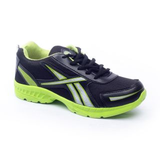 Foot 'n' Style Comfortable Black & Green Sports Shoes (fs426)