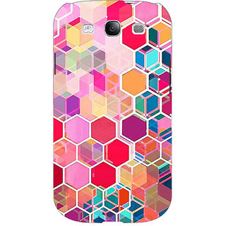 EYP Red Blue Hexagons Pattern Back Cover Case For Samsung Galaxy S3 Neo GT- I9300I 350274