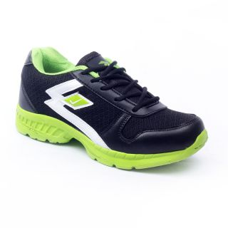 Foot 'n' Style Comfortable Black & Green Sports Shoes (fs434)