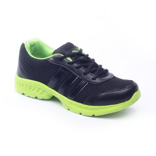 Foot 'n' Style Comfortable Black & Green Sports Shoes (fs435)