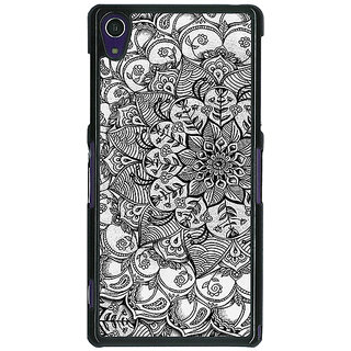 EYP Black And White Doodle Pattern Back Cover Case For Sony Xperia Z1