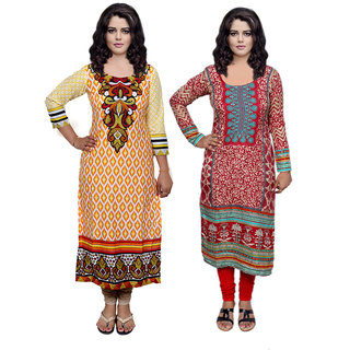 Indiweaves Women Cotton Pashmina PrintedKurti Fabric (3007130044-IW)