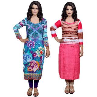 IndiWeaves Pink Printed Viscose Stitched Kurti