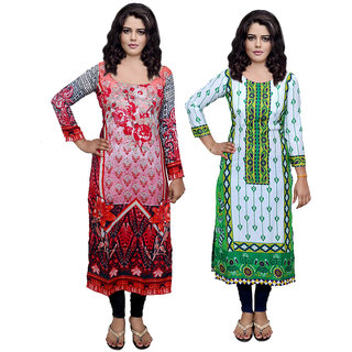 Indiweaves Women Viscose  Cotton Printed  Kurti Fabric (3005530072-IW)
