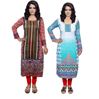 IndiWeaves Multicolor Printed Pashmina Stitched Kurti