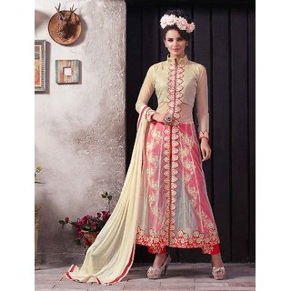 Thankar New Attractive Cream And Red Anarkali Suit