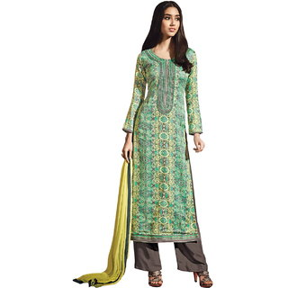 Lookslady Turquoise Cotton Embroidered Salwar Suit Dress Material (Unstitched)