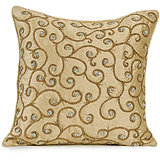 SPIRAL - Light Gold Colored Pure Silk Hand Work Cushion Cover - Set Of 2