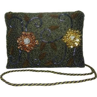 Avinash Handicrafts Sling Bag 18x13 cm Sea Green in Zari work