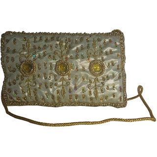 Avinash Handicrafts Sling Bag 20x12 cm Golden in Zari work