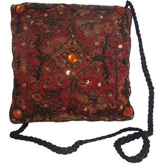 Avinash Handicrafts Sling Bag 15x15 cm Maroon in Zari work