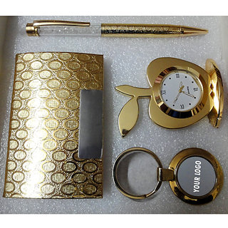 All Gold Plated  Pen Table Clock Card Holder Key Holder - Corporate Set-I