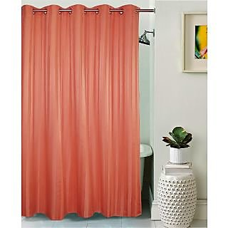 Lushomes Unidyed Coral Haze Polyester Shower Curtain with 10 Eyelets