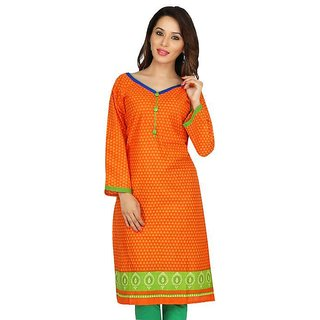 Pure Cotton Orange Embroidered Kurtis For Girls