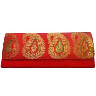 Bhamini Raw Silk Gold Zari Clutch (Red)
