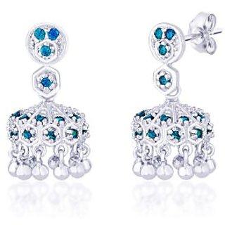 RnR ART JEWELLERY Taraash Blue Cz 925 Sterling Silver Jhumki Earring For Women