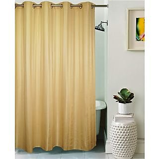 Lushomes Unidyed Gold Polyester Shower Curtain with 10 Eyelets