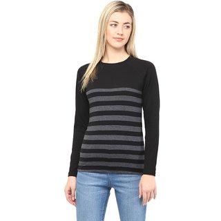 6a2339d387d577 Buy Hypernation Round Neck Black With Grey Stripe Cotton Tshirt ...