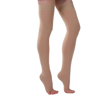 ONTEX Cotton Compression Stockings Thigh Length Open Toe