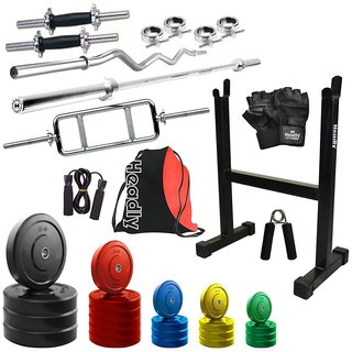 Headly Premium 100Kg Coloured Home Gym + 14 Dumbbells + 3 Rods + Rod Stand + Gym Backpack Assorted + Accessories